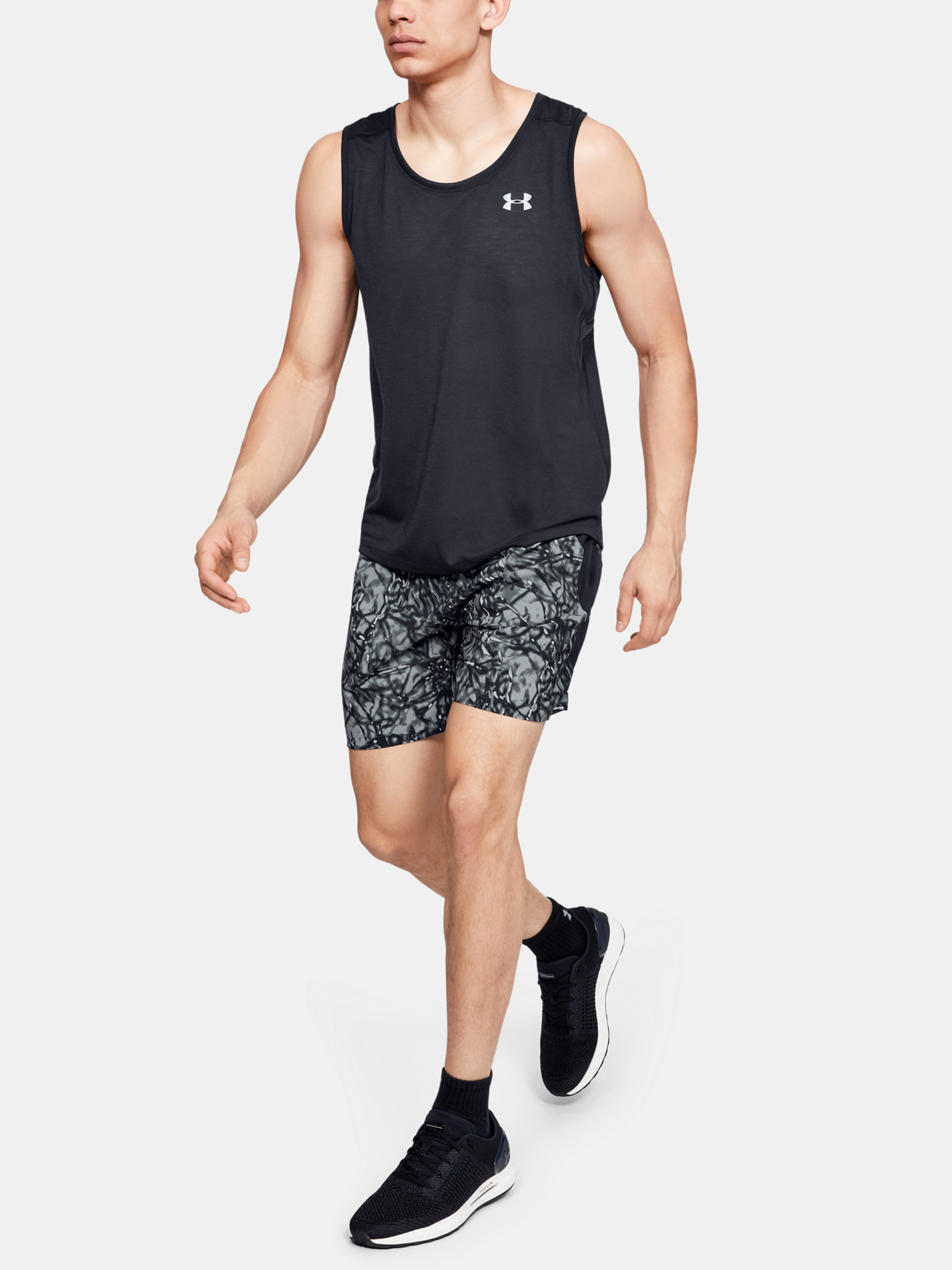 Kraťasy Under Armour LAUNCH SW 7'' PRINTED SHORT-BLK (6)