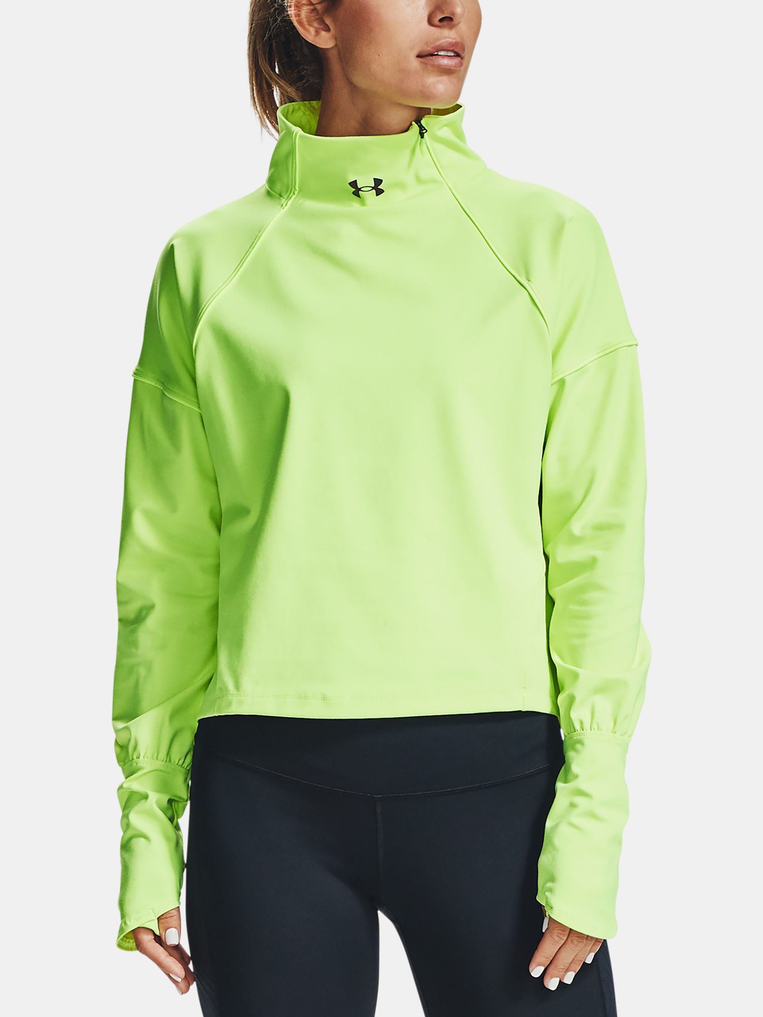 Tričko Under Armour CG Rush 1/2 Zip-GRN (1)