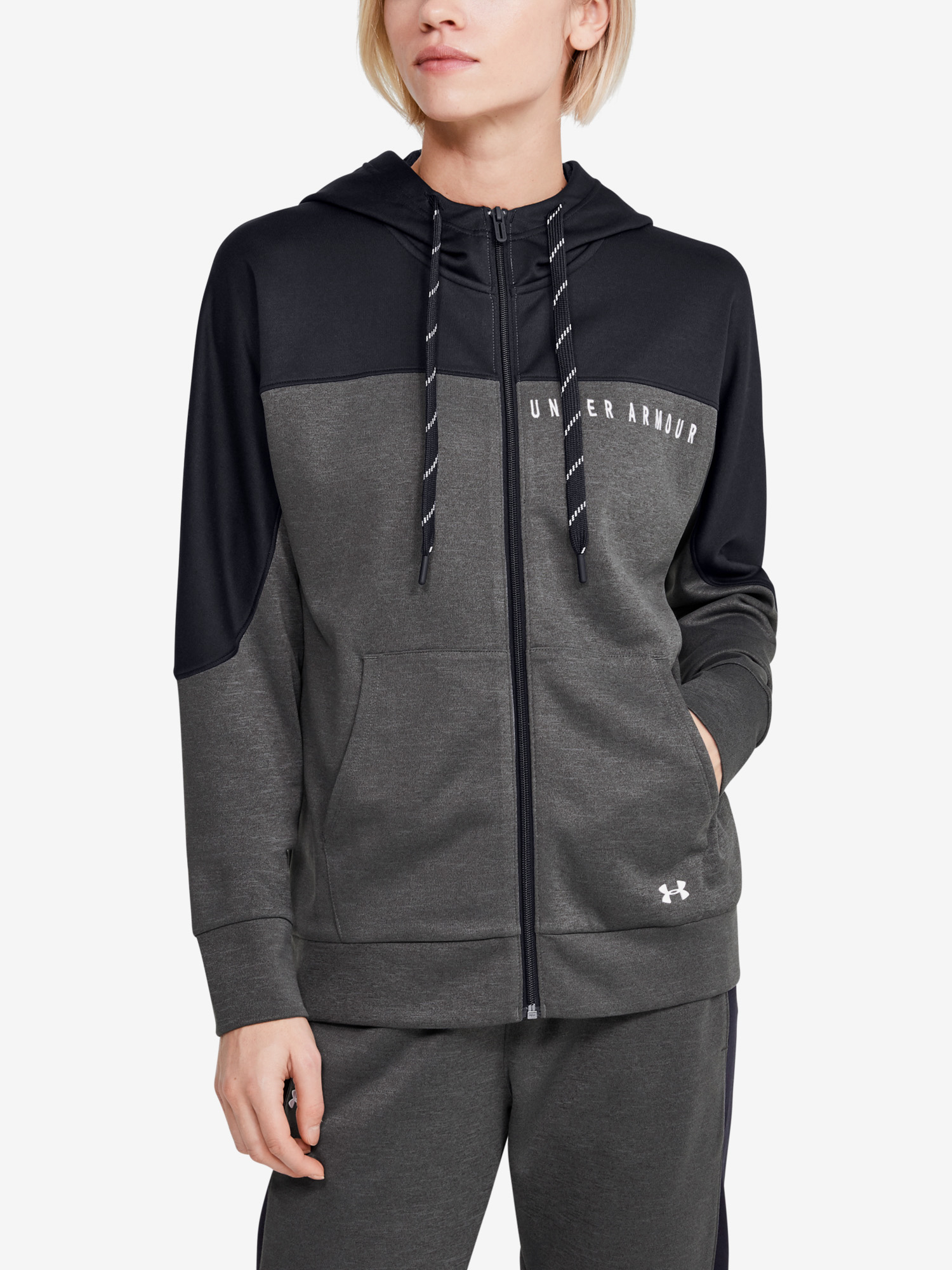 Mikina Under Armour Recover Knit FZ Hoodie-GRY (1)
