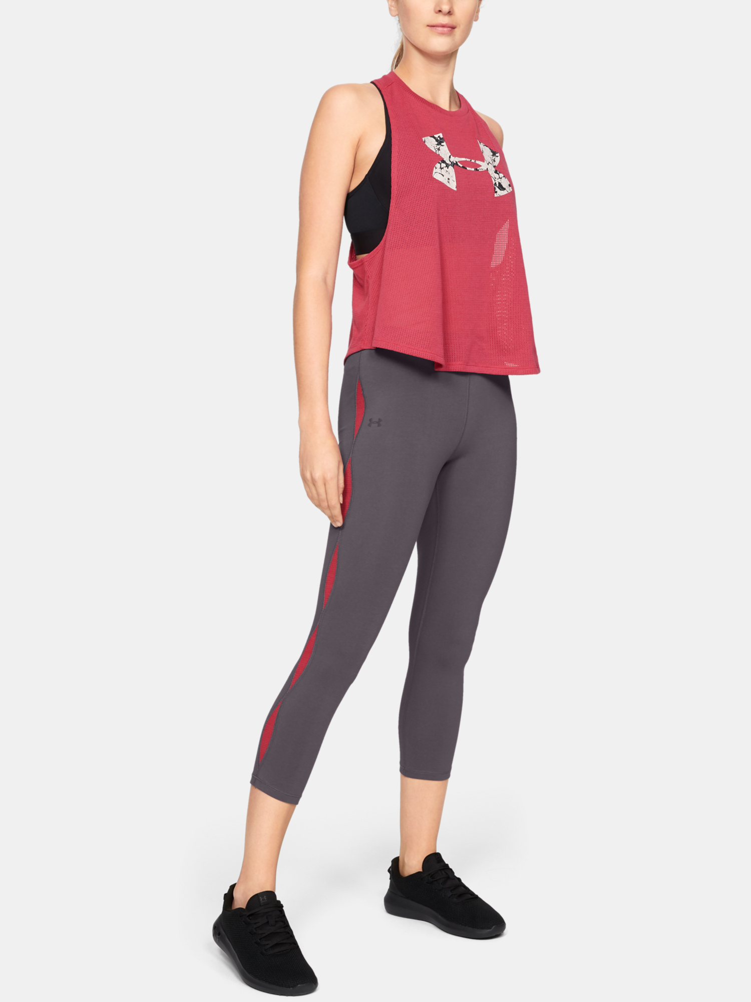 Legíny Under Armour FAVORITE MESH CROP -GRY (5)