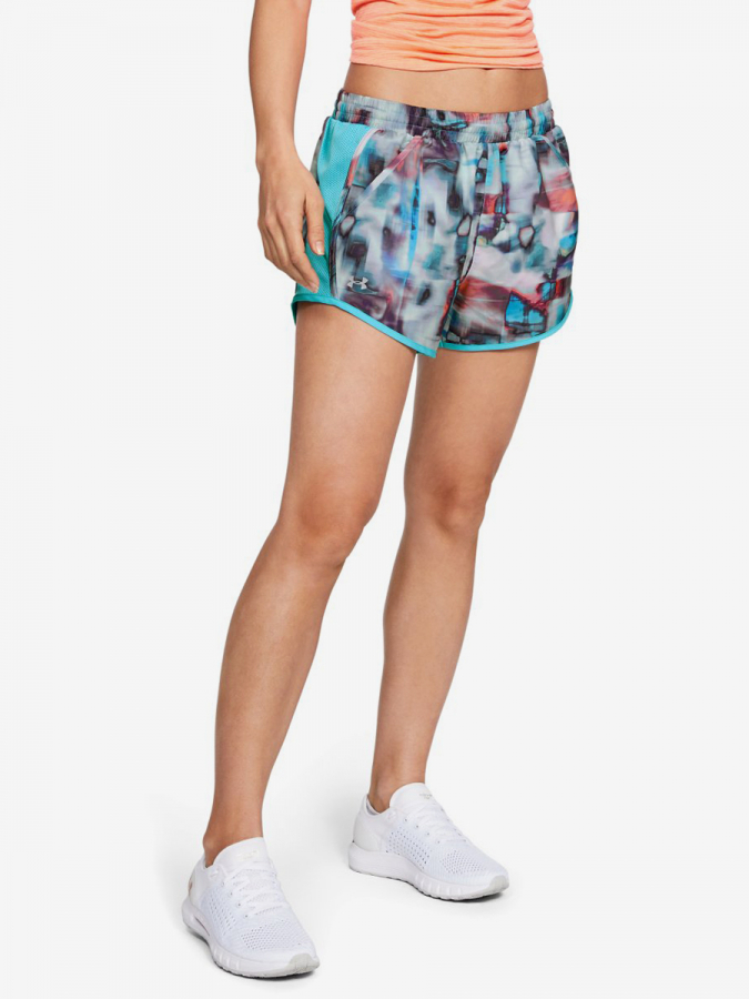 Kraťasy Under Armour Fly By Printed Short-Wht (1)