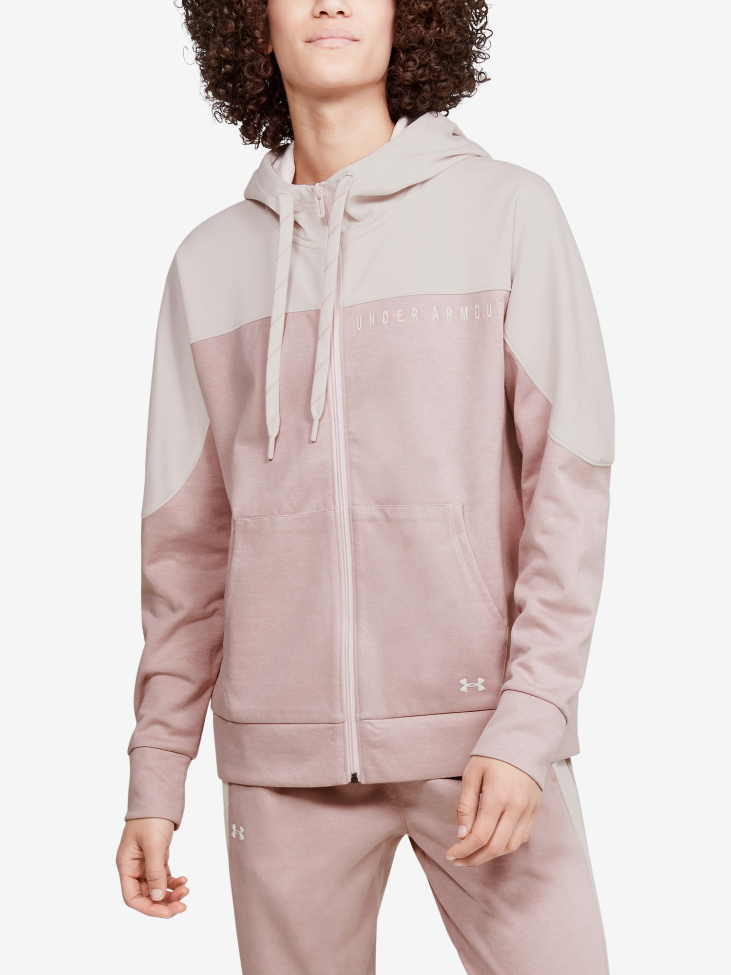 Mikina Under Armour Recover Knit FZ Hoodie-PNK (1)