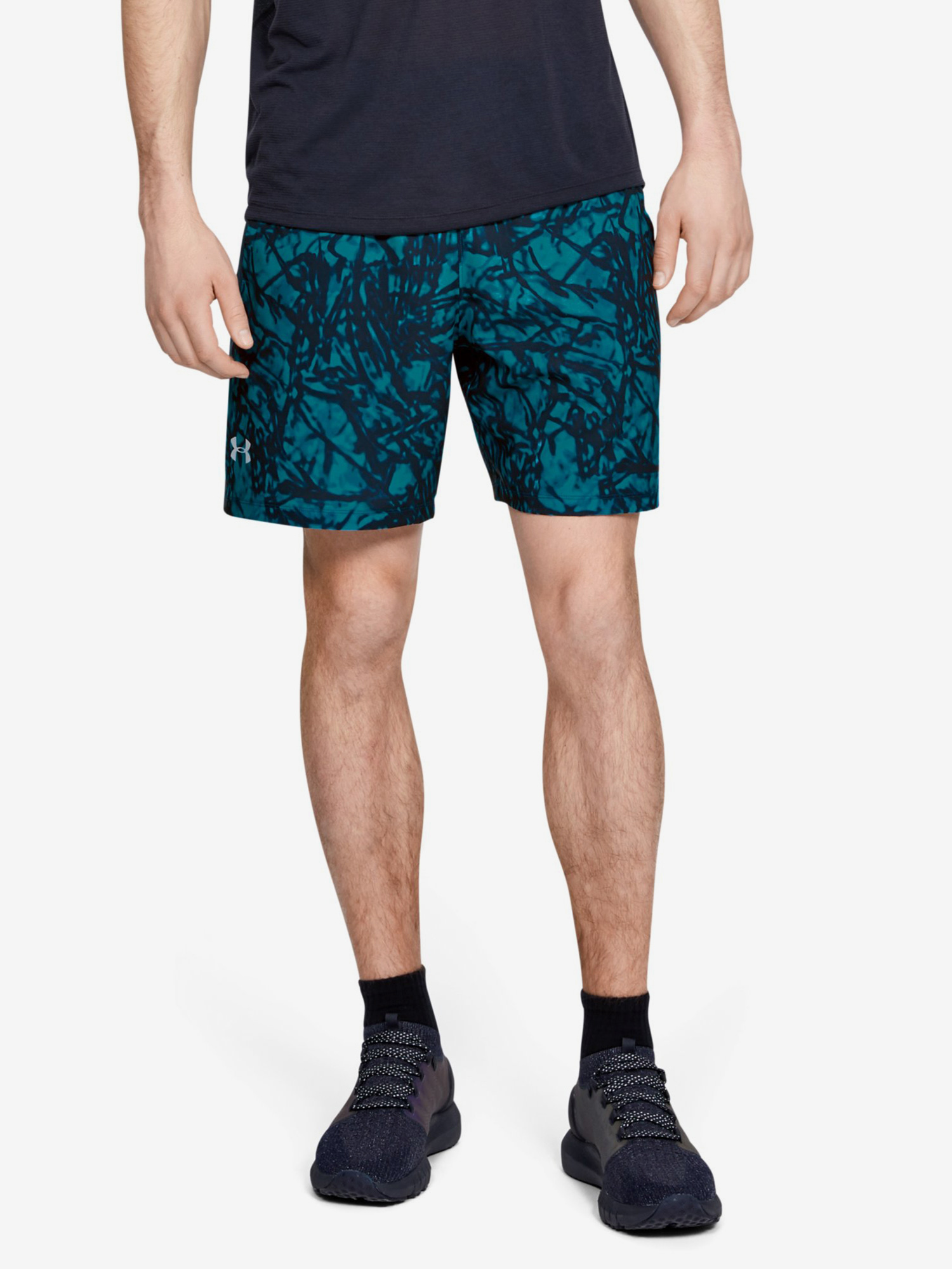 Kraťasy Under Armour Launch Sw 7'' Printed Short-Gry (1)
