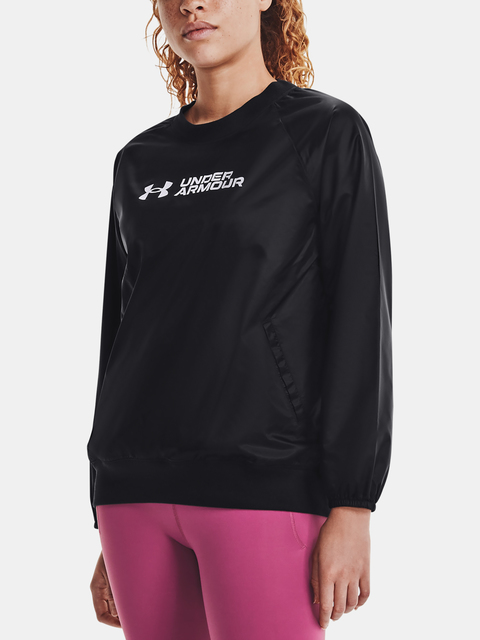 Mikina Under Armour Recover Woven Shine Crew-BLK