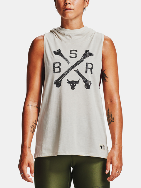 Tílko Under Armour Project Rock Hooded Tank-WHT