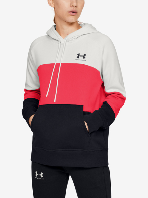 Mikina Under Armour Rival Fleece Color block Hoodie-WHT