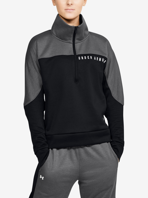 Mikina Under Armour Athlete Recovery Knit 1/2 Zip-BLK