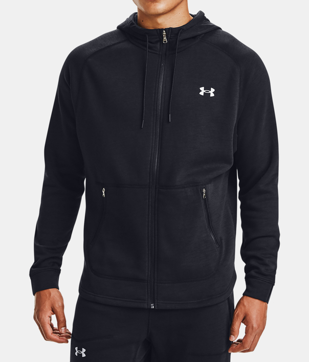 Mikina Under Armour Charged Cotton FLC FZ HD-BLK (1)